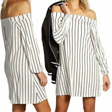 Stripes Dresses for Women with Smocked Long Sleeve