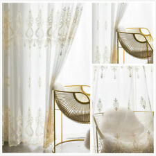 White Embroidery Tulle Curtain Living Room Lace Voile Sheer Window Panel Decor