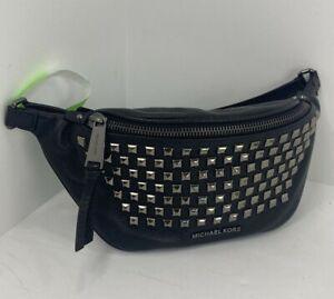 Michael Kors Fanny Pack Waist Bag Rhea Pyramid Studded Black Leather B3G