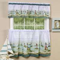 "Hamptons Lighthouses Kitchen Curtain 36"" Tier Pair & 13"" Tailored Valance Set"