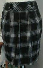 IZ Byer Womens Size 1 Skirt Black Gray Plaid Gathers Buttons Zipper Kick Pleat