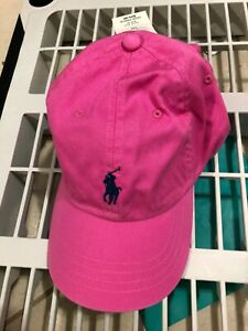 NEW Polo Ralph Lauren Chino Baseball Adjustable Pink buckled strap Cap Hat