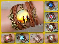 Photo Glass Cabochon Braided Leather Bracelet W/ Clasp/ CHOICE/ U.S Seller!