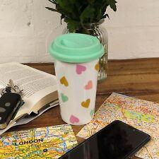 Confetti Hearts Travel Mug Hot Drinks Coffee Tea Double Wall Porcelain Car Cup