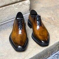 Chaussures à lacets Oxford en cuir véritable marron pour hommes faits à la main