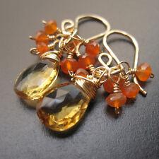 Citrine, Carnelian Wire Wrapped Gemstones Dangle Earrings