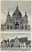 Antique print berliner bauten building Berlin dom 1902