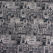 Black and White London Print Linen Blend Canvas Fabric (Per Metre)