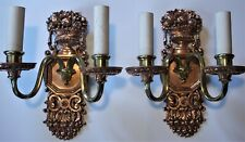 Antique Vintage c1920s Two Arm Brass Candle Sconce Restored