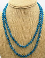 "Fashion 8mm Ink-blue colour Apatite beads Gemstone Necklace 36"" JN59"