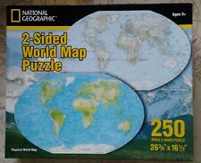 "National Geographic 2-Sided World Map Puzzle-250 Pieces-26 3/4"" x 16 1/2"" *NEW*"