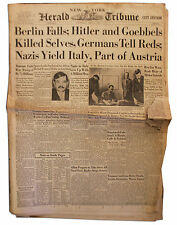 NY Tribune Berlin Falls Hitler Suicide 1945 Newspaper