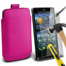 PU Leather Pull Tab Flip Case Cover Pouch & Tempered Glass for Various Mobiles