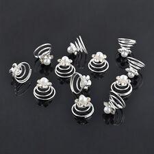 12pcs Mixed Wedding Bridal Hair Twists Spirals Pins Crystal Pearl Flower Decor