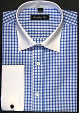 Alexander Hay Mens Formal Shirts Blue Gingham Check B012
