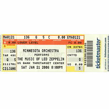 LED ZEPPELIN by MINNESOTA ORCHESTRA Concert Ticket Stub 1/21/06 TARGET CENTER