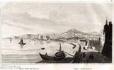 Napoli: Panorama dal Carmine. Audot. Acciaio. Stampa Antica + Passepartout. 1835
