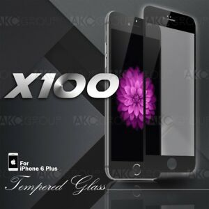"""100x Black Full Cover Tempered Glass Screen Protector For IPhone 6S 6 Plus 5.5"""""""