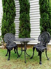 VINTAGE 1950s  Oiginal 100% CAST IRON BLACK OUTDOOR PATIO SETTING- RESTORED