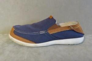 Mens CROCs Navy Blue Slip On Canvas & Leather Loafers Size 11