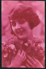 Art Deco 1920s original vintage photo postcard romance lady pink flower flapper