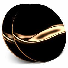 2 x Coasters - Liquid Gold Black Art Deco Home Gift #3420