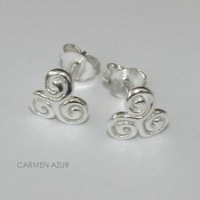 Solid 925 Sterling Silver Stud Earrings Celtic Triskele Knot New with Gift Bag