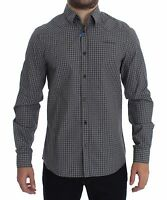NEW $240 VERSACE JEANS COUTURE VJC Gray Checkered Slim Fit Cotton Shirt IT48 / M