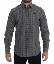 NWT $240 VERSACE JEANS COUTURE VJC Gray Checkered Slim Fit Cotton Shirt IT48 / M