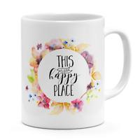 Water Color Flower Printed Mug Ceramic Novelty Hot Coffee Tea Mug White 11 oz