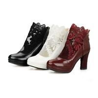 Chic Women's Lace High Block Heels Zip Up Ankle Boots Platform Plus Size Shoes