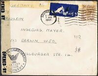 1937-47 KGVI 5d brown on 1947 airmail cover to Berlin, Civil Censor mark TS535