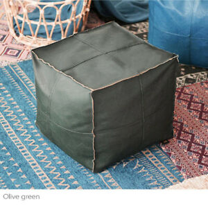 "18"" Vintage Square Leather Pouf Moroccan Leather Ottoman Bohemian Footstool Boho"