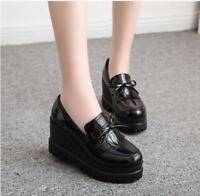 Women's round toe Tassel bowknot Wedge Heel Platform Loafers Slip On Shoes
