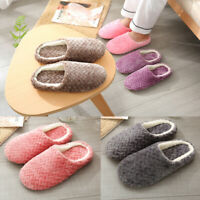Womens Mens Winter Warm Soft Home Indoor Slip On House Fleece Slippers Shoes