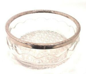 Vintage Clear Cut Glass Bowl Scalloped Sides Hobnail Base & Silver Rim England