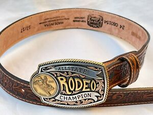 New Tony Loma Allstate Rodeo Champion Brown Embossed Leather Kids Belt Size 24