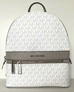New Michael Kors KENLY Medium Backpack PVC with Leather Bright White