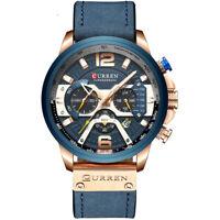 CURREN 8329 Brand Luxury Men Sports Chronograph Calendar Leather Quartz Watch