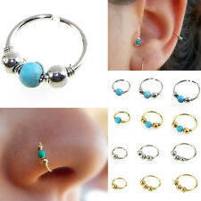2pc Surgical Steel Nose Ring Turquoise Nostril Hoop Nose Earring Piercing Studs