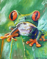 """Frog 8""""x10"""" Limited Edition Oil Painting Print Signed Art by Artist Reptile"""