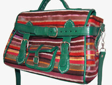 Moroccan Leather Handmade Shoulder Bag Purse Handbag Silk Fabric Fancy Green