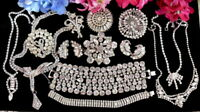 VINTAGE DIAMANTE CRYSTAL RHINESTONE JEWELRY LOT SIGNED BOUCHER WEISS+ EZ AS-IS!