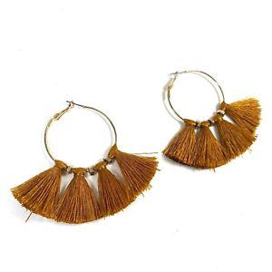 Tassel Hoop Earrings Brown Yellow Gold Claires Accessories Snap Closure