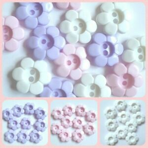 10 Daisy Flower Buttons 11mm 15mm 18mm ligne size 18 24 28 White Pink Lilac