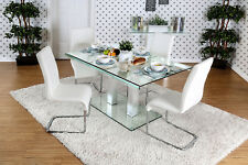 Furniture Of America CM3362T Glass Top And Base Dining Table With Dual Post Leg