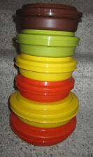 New listing Vintage Tupperware Seal N Serve Harvest Yellow Orange Green Brown Cereal Bowls