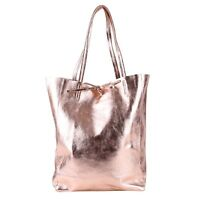 Metallic Glitzer Lack Tasche Italy Leder Rose Gold Shopper Borse in Pelle NEU