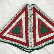 Handmade quilted Christmas tree skirt Rocking horses Holly teddy bears red green