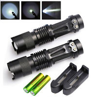2 x Mini Ultrafire 5000LM Rechargerable T6 LED Flashlight Lamp+ Battery+Charger